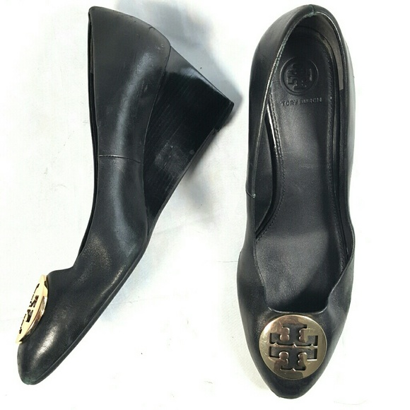 Tory Burch Shoes - TORY BURCH Black Leather Wedge Heels